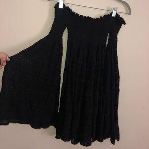 Free People black bell sleeve dress